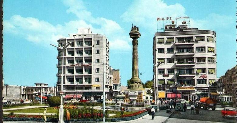 دمشق -ساحة المرجة من الغرب الى الشرق في عام 1959