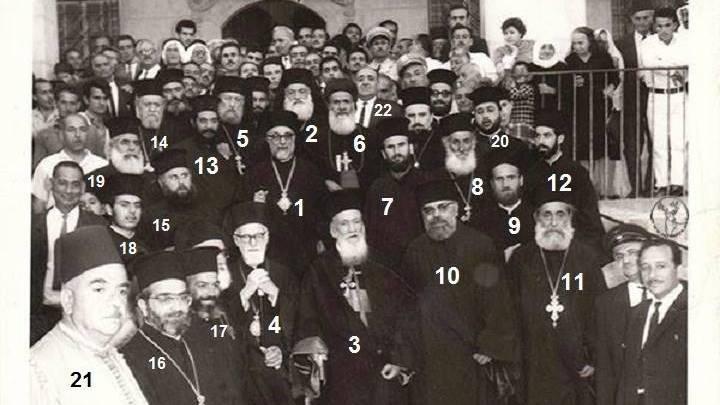 دمشق 1968 : كهنة أبرشية دمشق وريفها ملتقطة على درج الكاتدرائية المريمية