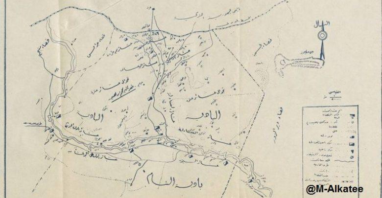 خريطة توضح الرقة ونواحيها وعشائرها في ثلاثينيات القرن العشرين