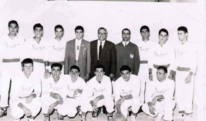 منتخب سورية بكرة السلة المشارك في الدورة العربية الثانية في  بيروت 1957