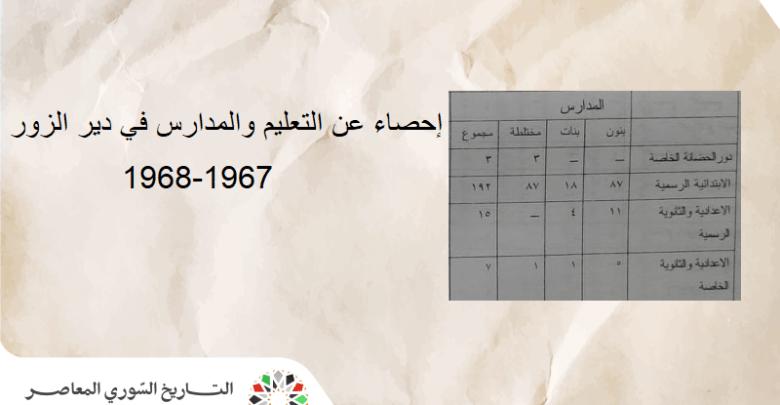 تعداد الطلاب والمدارس في مدينة دير الزور - العام الدراسي 1967-1968