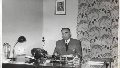 حلب 1959- عمر محمد كردي في مكتبه بمدرسة المأمون