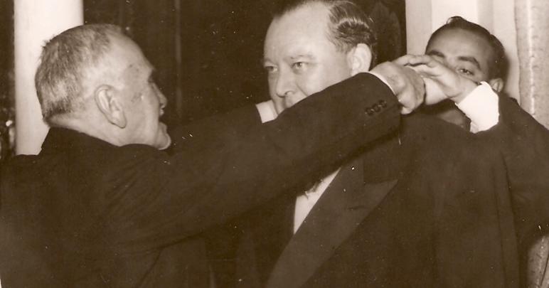 الرئيس هاشم الأتاسي وأمين عام الأمم المتحدة في دمشق 1951
