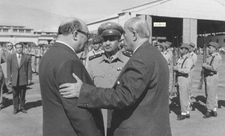 شكري القوتلي مع صبري العسلي وتوفيق نظام الدين في مطار المزة 1956