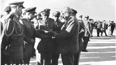 شكري القوتلي بعد إنتهاء حفل تخريج دورة ضباط القوى الجوية عام 1956م