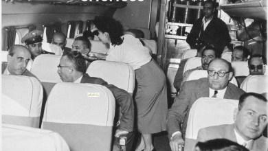 شكري القوتلي في الطائرة إلى حفل تخريج دورة ضباط القوى الجوية 1956