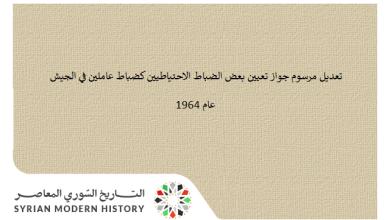 تعديل مرسوم جواز تعيين بعض الضباط الاحتياطيين كضباط عاملين في الجيش عام 1964