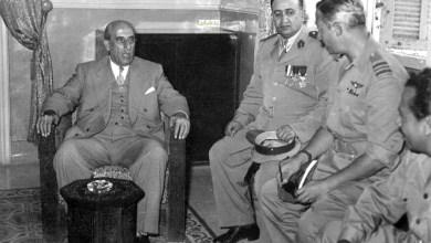 شكري القوتلي يستقبل رئيس هدنة فلسطين بدمشق عام 1956
