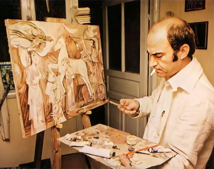 الفنان أحمد مادون في مرسمه عام 1980