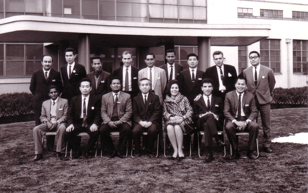 Artist Ahmed Madoun in front of the Japanese company Fujitsu in 1967