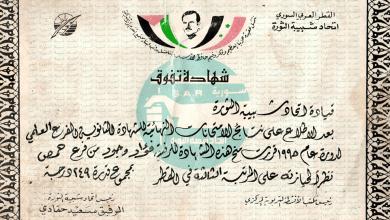 شهادة تفوق للطالب فؤاد وحود عام 1995