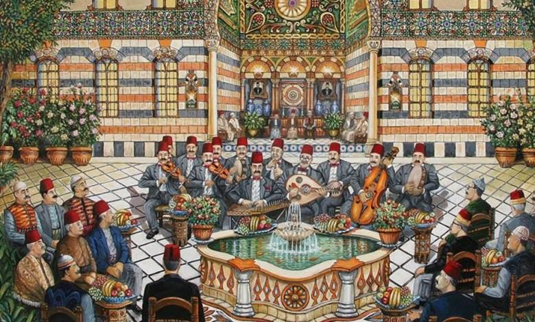 سهرة مع جوقة تراثية .. لوحة للفنان نذير بارودي (1)