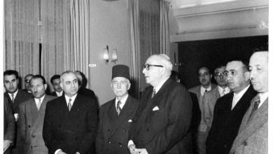 خالد العظم واحسان الجابري و مأمون الكزبري وتوفيق نظام الدين عام 1957  (2)