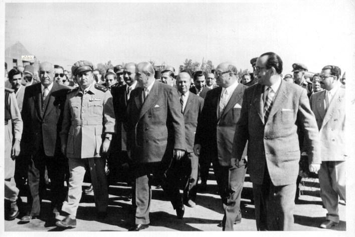 شكري القوتلي وصبري العسلي ومحمد العايش واللواء توفيق نظام الدين خريف 1956