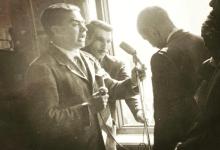 عبد السلام العجيلي يلقي كلمة عند زيارة عبد الحميد السراج إلى الرقة