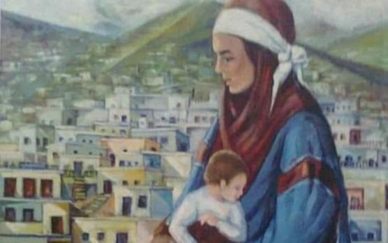 المرأة .. لوحة للفنان إبراهيم موسى البليبل عام 1991م (1)