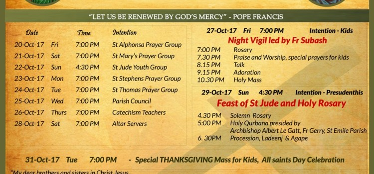 Feast of St Jude & Holy Rosary: Parish Feast 2017