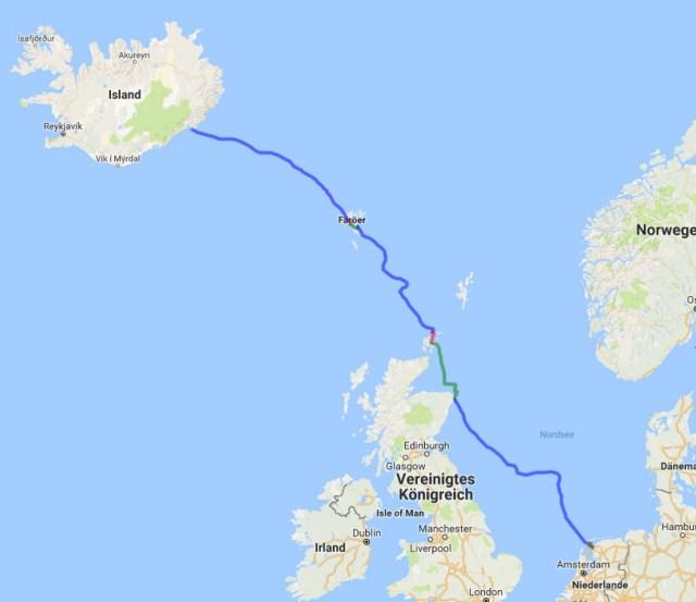 Track von Island nach Holland
