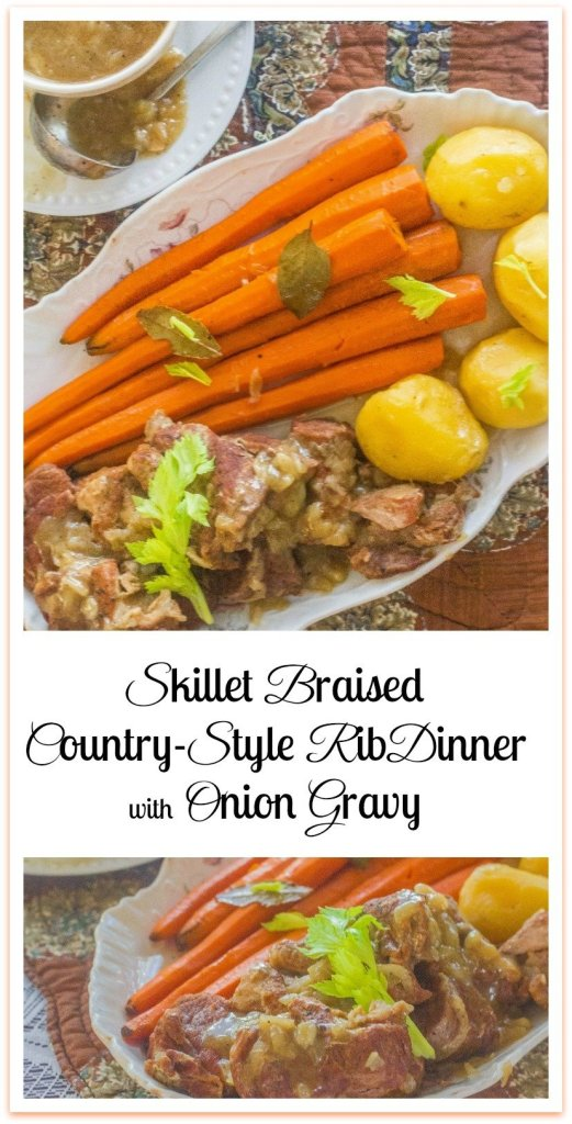 Skillet Braised Country-Style Rib Dinner with Onion Gravy. Country-Style Ribs seared and braised in a white wine and onion gravy.