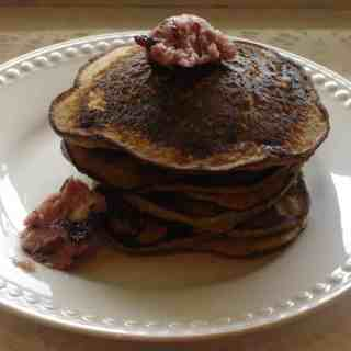 banana buckwheat pancakes and blueberry maple butter 019
