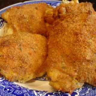 Chickens and Spiders (recipe:  Parmesan Crusted Chicken Thighs)
