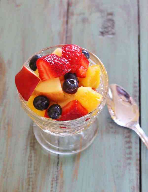 Simple Fruit Salad with Citrus Honey Dressing. A combination of favorite fruits dressed with a honey and citrus juice dressing.