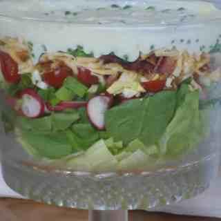 7 layer salad, split pea soup, punch, tyler by front door 018