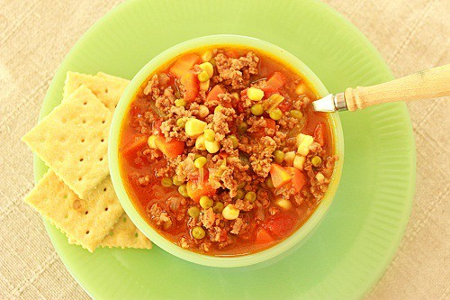 School Lunchroom Hamburger Soup with Saltines