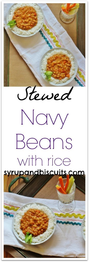 Stewed Navy Beans with Rice. Dried navy beans stewed with vegetables and spices for an economical nutritious meal.