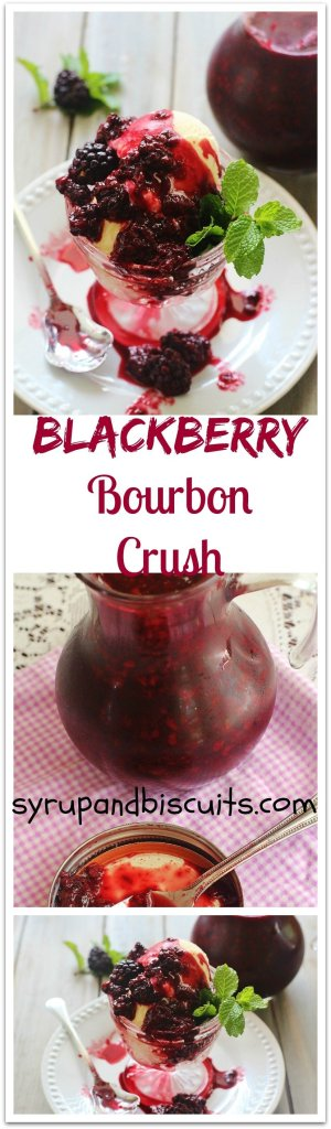 Blackberry Bourbon Crush. Blackberries roasted with brown sugar, lemons, cinnamon and bourbon. Crushed to make a syrup. Use as a topping for ice cream, oatmeal, pancakes and waffles.