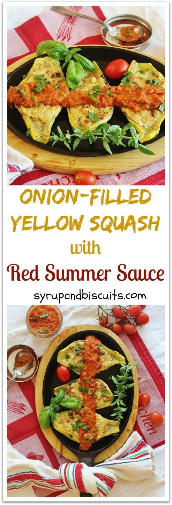 Onion Filled Yellow Squash with Red Summer Sauce. Caramelized Vidalia onion and cream cheese filling in a yellow squash served with red summer sauce.