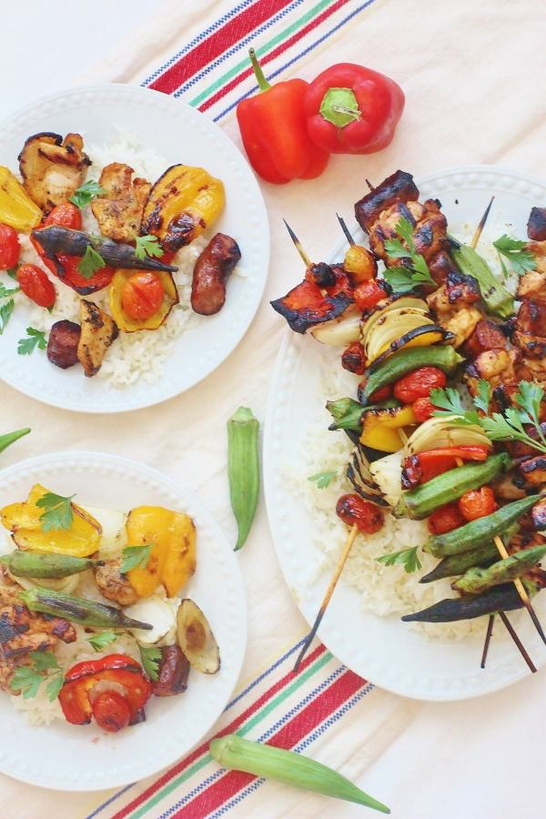 Chicken and Sausage Gumbo Skewers. The flavors of chicken and sausage gumbo chargrilled on skewers.