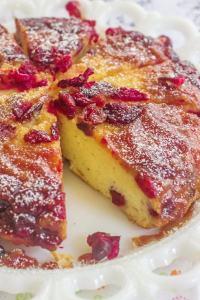 Cranberry Upside-Down Skillet Cake. A cream cheese skillet cake and a cranberry caramelized topping.