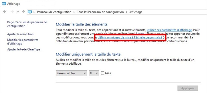 Windows 10 - Définir un niveau de mise à l'échelle personnalisé