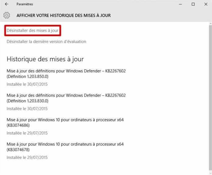windows10 - désinstaller des mises à jour