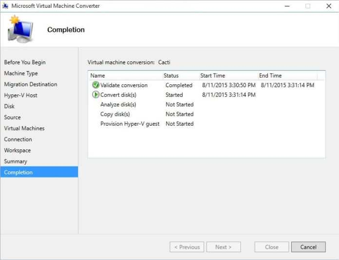Microsoft Virtual Machine Converter - Image 13