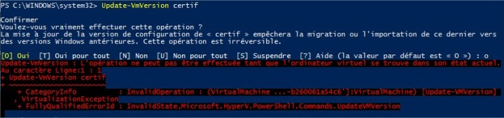 Hyper-V upgrade VM version - Error