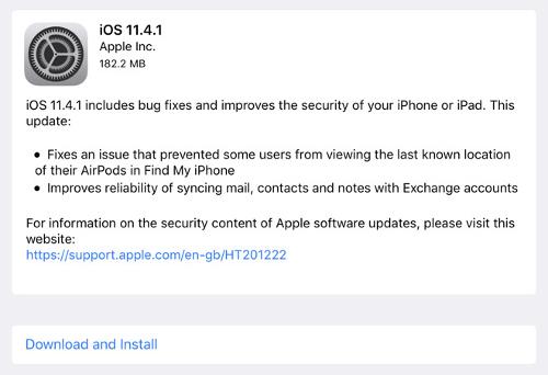 iOS 11 4 1 update - آبل تطلق رسميًا تحديث iOS 11.4.1 لإصلاح بعض أخطاء ومشاكل الإصدار السابق