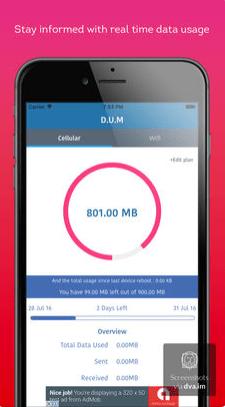 222 - تطبيق DUM Data usage manager لحساب استهلاكك من الانترنت سواء كان باقة أو وايفاي