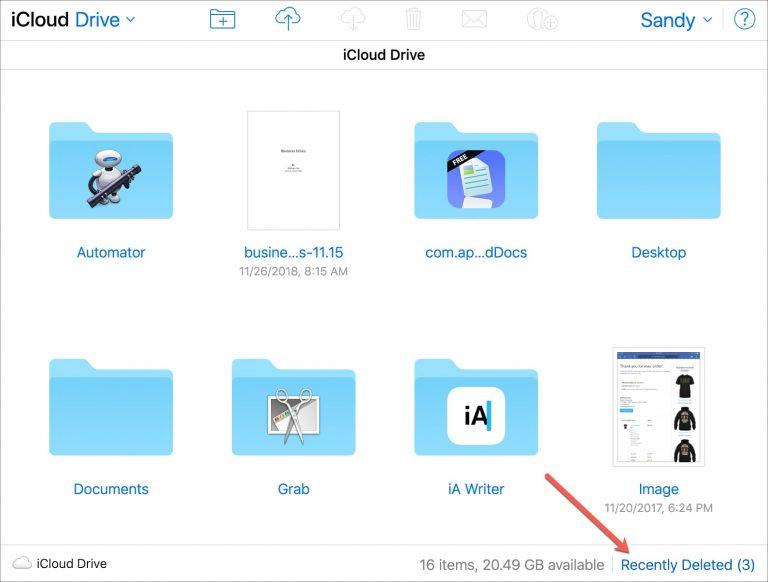 11 - بالصور.. تعرف على كيفية عرض واستعادة الملفات المحذوفة مؤخراً في iCloud Drive