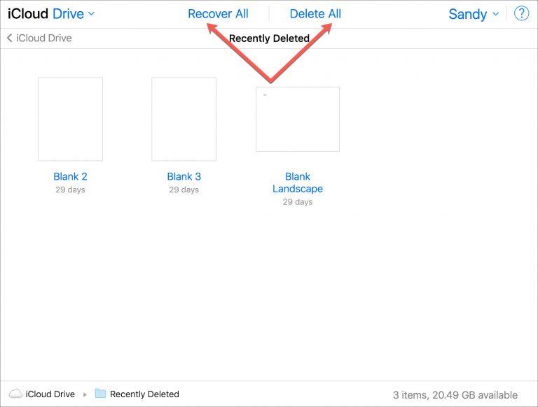 22 - بالصور.. تعرف على كيفية عرض واستعادة الملفات المحذوفة مؤخراً في iCloud Drive