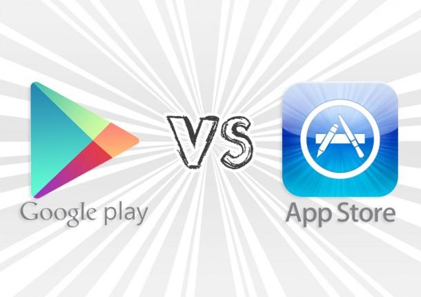 google play vs appstore 610x430 - على الرغم من النمو الكبير في إيرادات إلا أن آب ستور يظل أعلى من جوجل بلاي