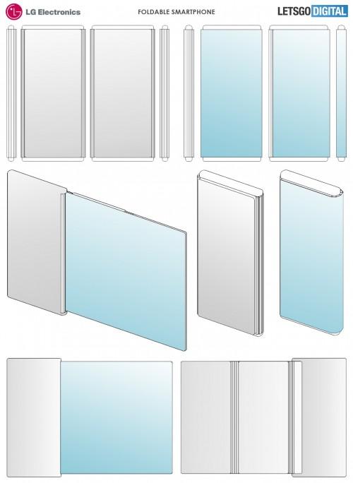 LG foldable smartphone - LG تسجل براءة اختراع جديدة لجوال يمتلك شاشة تدعم الطي في أفقياً ورأسياً