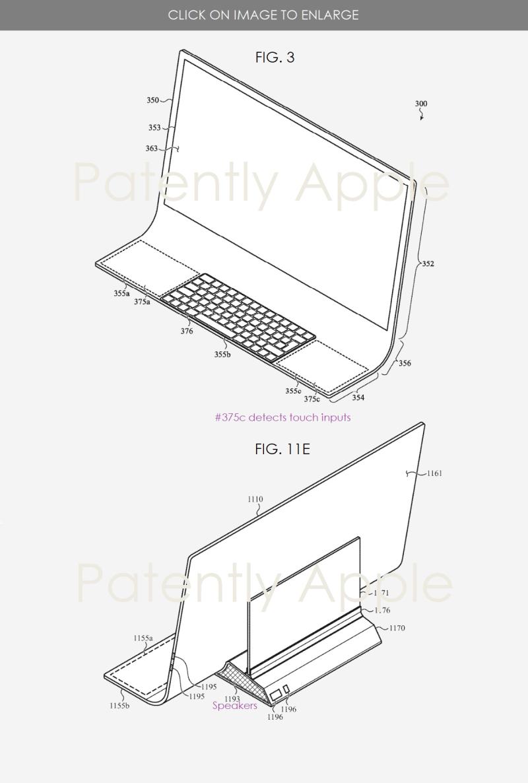 براءة اختراع لحاسب iMac - آبل لديها براءة اختراع لكمبيوتر آيماك بشاشة منحنية مدمج بها لوحة المفاتيح