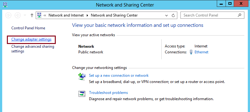 static IP Address to windows server 2012