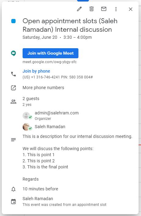 Google Calendar - Event details