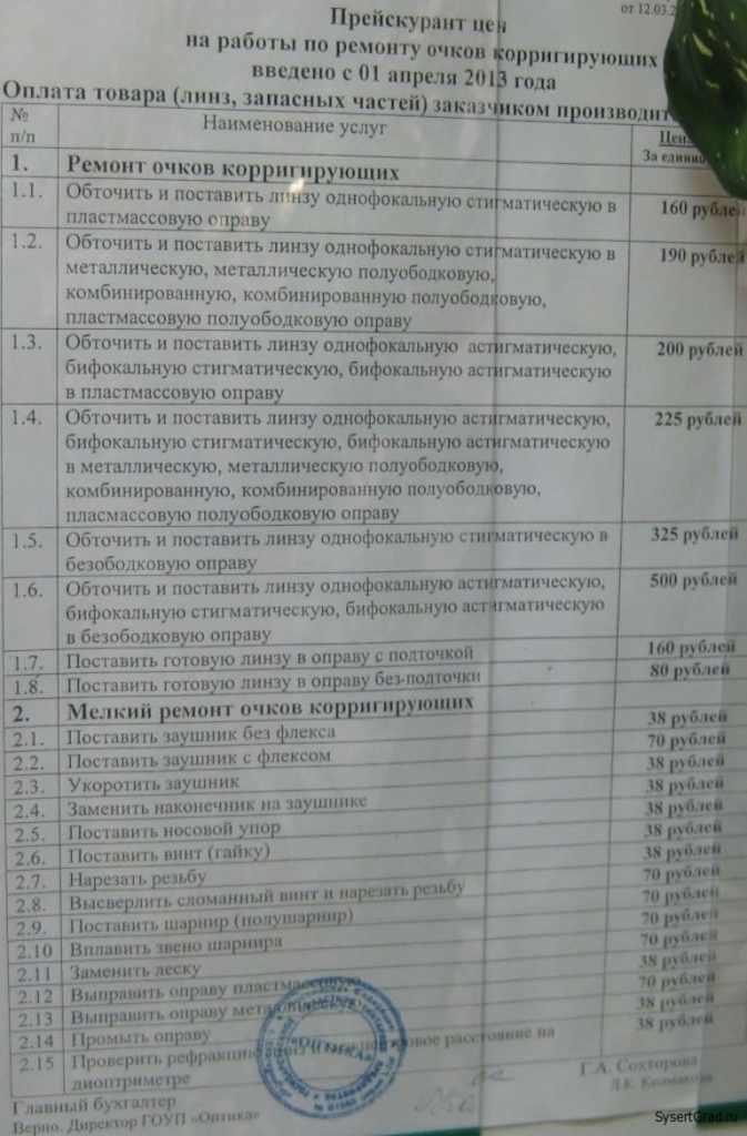 """Магазин """"Оптика"""" цены на работы по ремонту очков"""