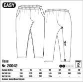 Easy buksemønster - lommene ble droppet og ben lengden forlenget. Veldig grei modell med litt vidde i lårene.