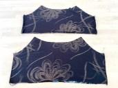 Legg delene for forstykkene og bakstykkene rette mot rette. Sy sammen i sidesømmene så du har to identiske topper