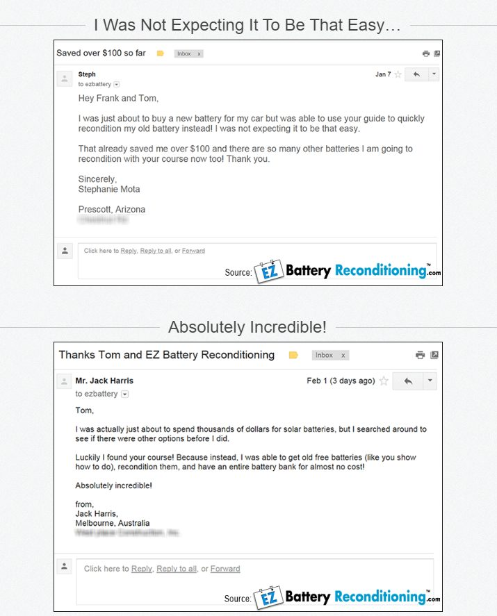 EZ BAttery Reconditioning Customer Review
